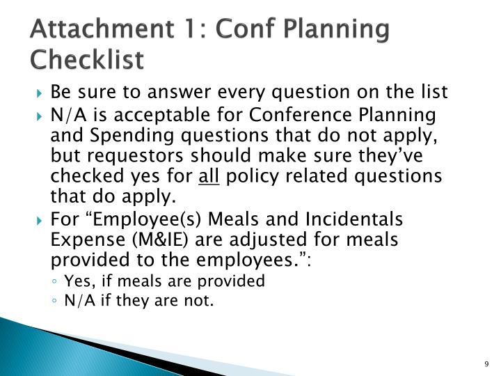 Attachment 1: Conf Planning Checklist