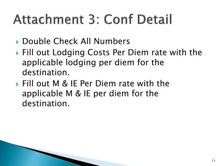 Attachment 3: Conf Detail