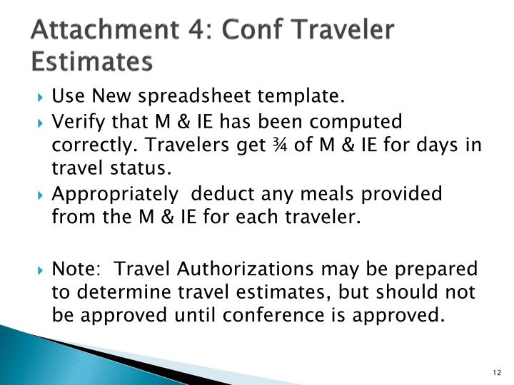 Attachment 4: Conf Traveler Estimates