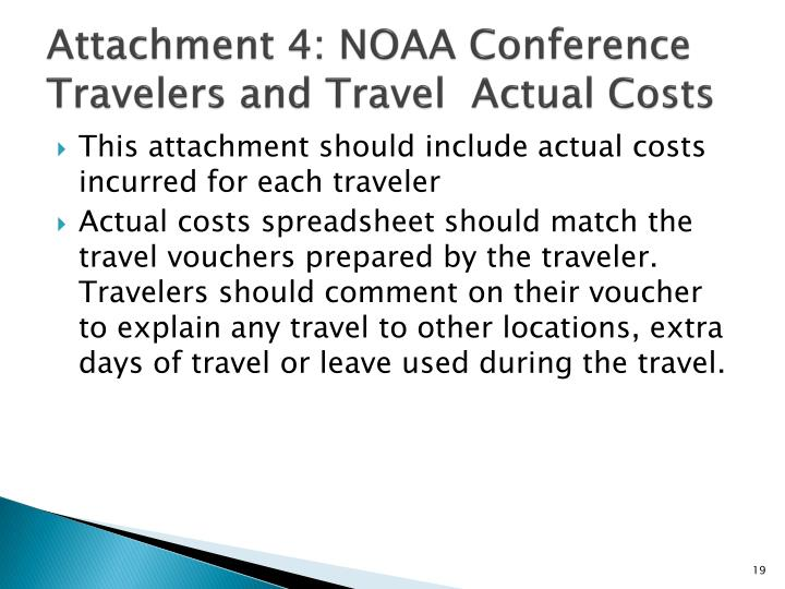 Attachment 4: NOAA Conference Travelers and Travel  Actual Costs