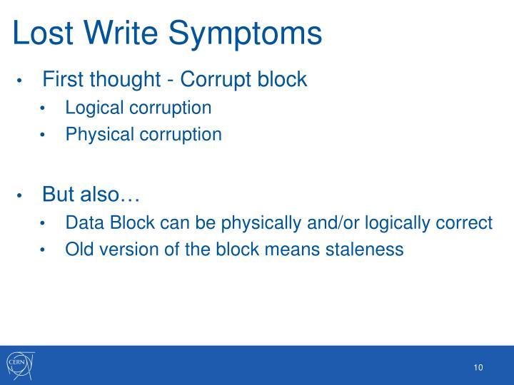 Lost Write Symptoms