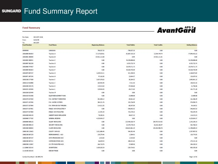 Fund Summary Report
