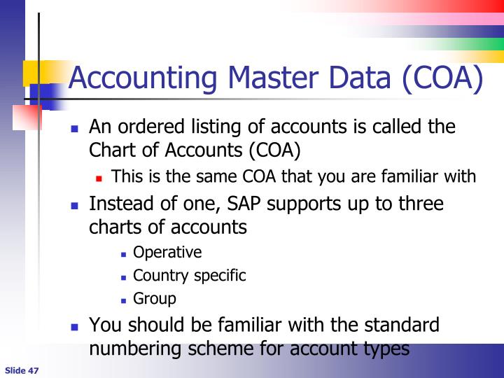 Accounting Master Data (COA)