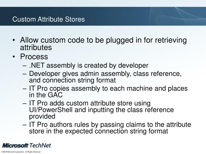 Custom Attribute Stores
