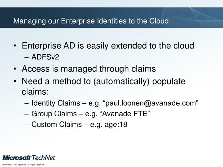 Managing our Enterprise Identities to the Cloud