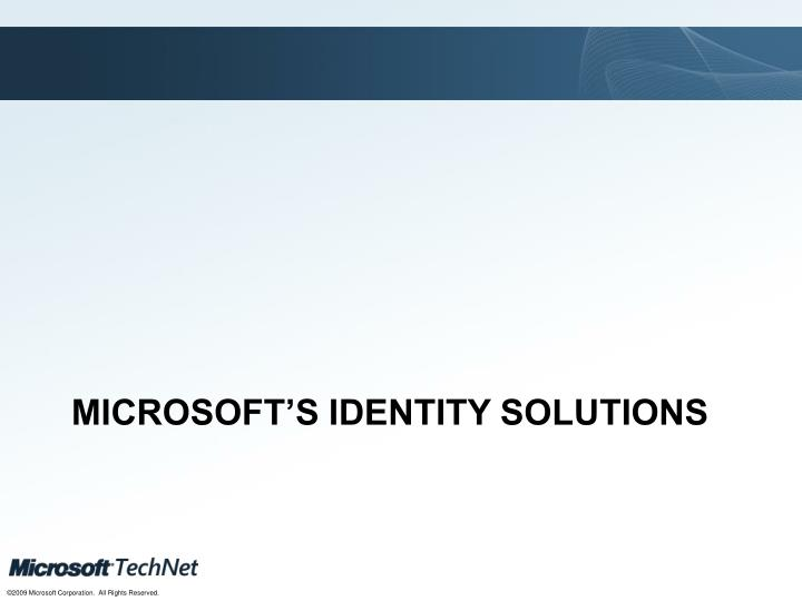 Microsoft's Identity Solutions