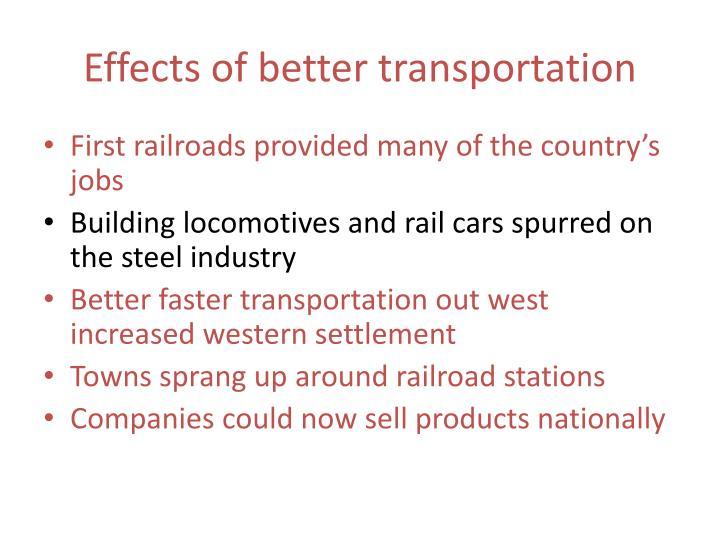 Effects of better transportation