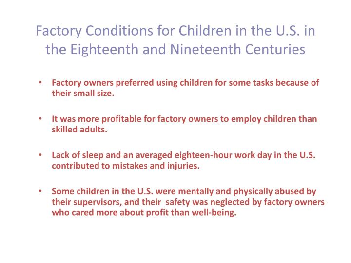 Factory Conditions for Children in