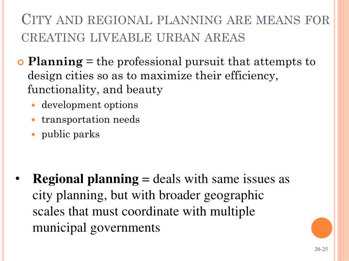 City and regional planning are means for creating liveable urban areas
