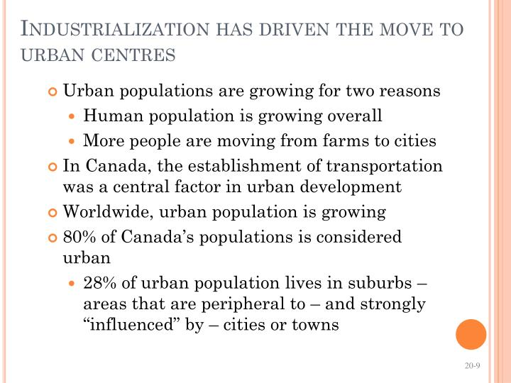 Industrialization has driven the move to urban centres