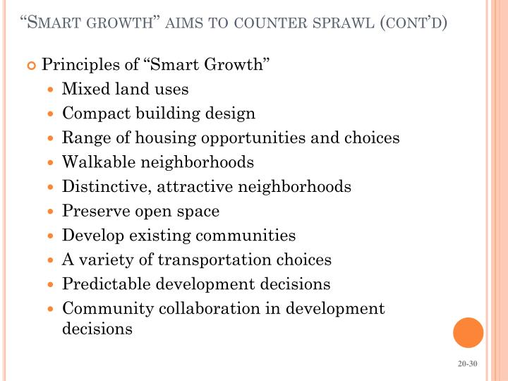 """Smart growth"" aims to counter sprawl (cont'd)"