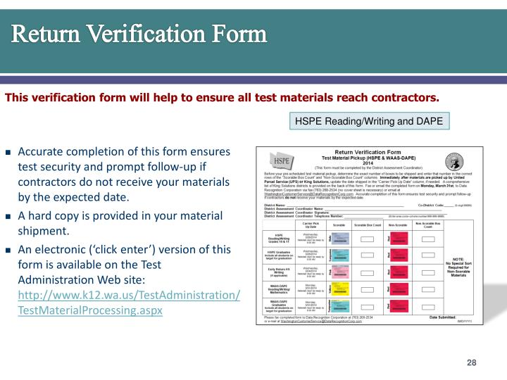 Return Verification Form