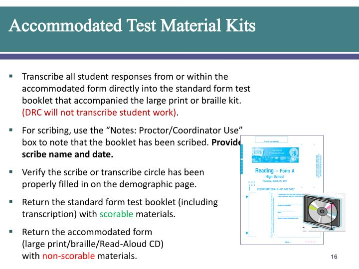 Accommodated Test Material Kits