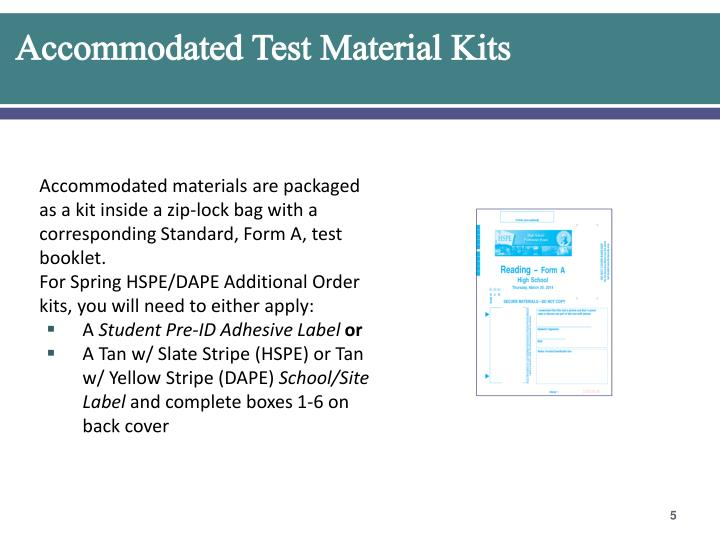 Accommodated Test Material