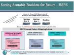 sorting scorable booklets for return hspe