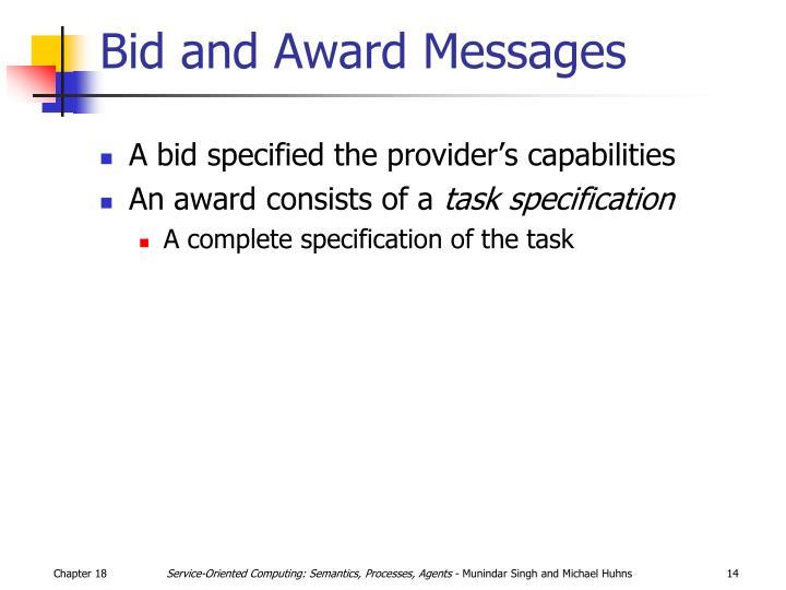 Bid and Award Messages