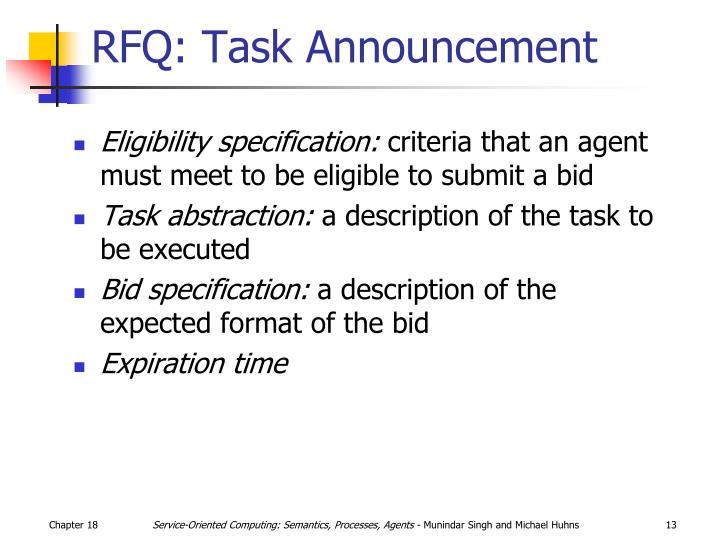RFQ: Task Announcement