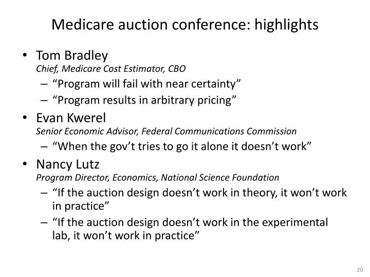 Medicare auction conference: highlights
