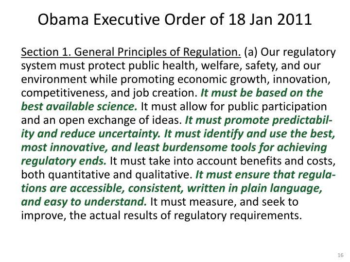 Obama Executive Order of 18 Jan 2011