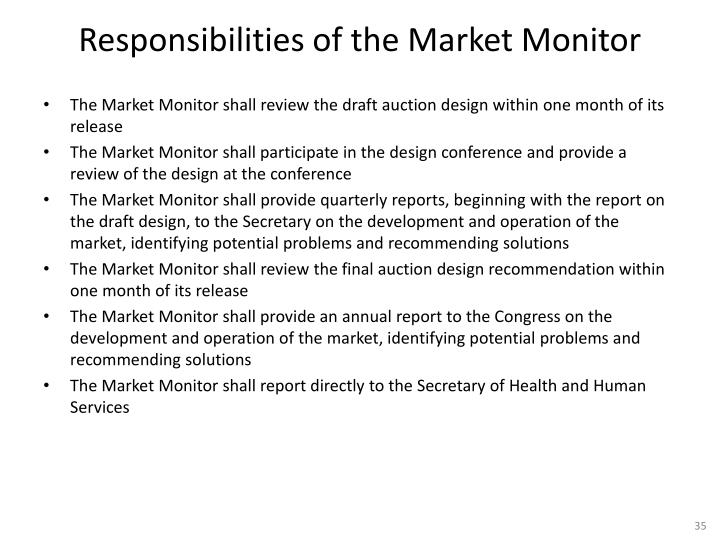 Responsibilities of the Market Monitor