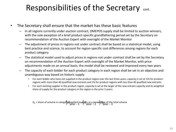 Responsibilities of the Secretary