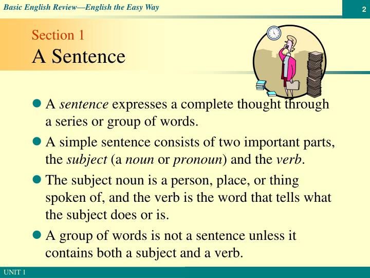 Section 1 a sentence