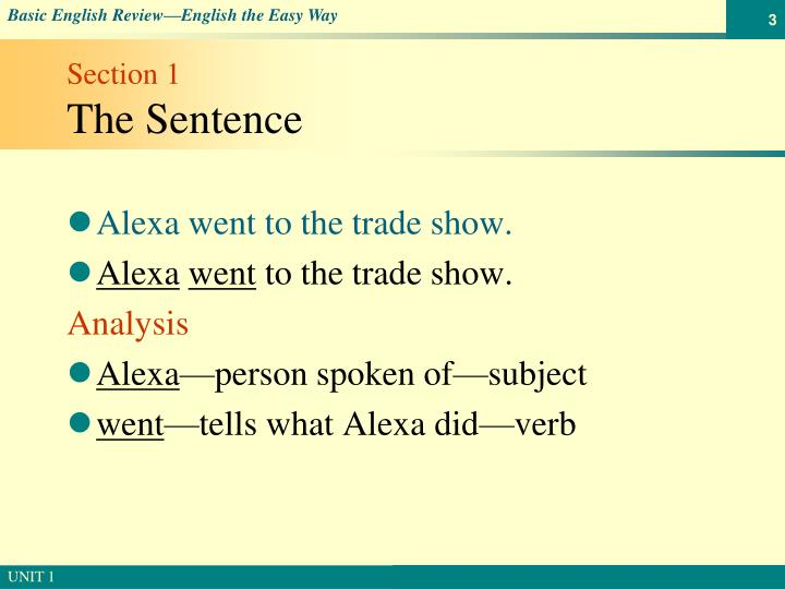 Section 1 the sentence