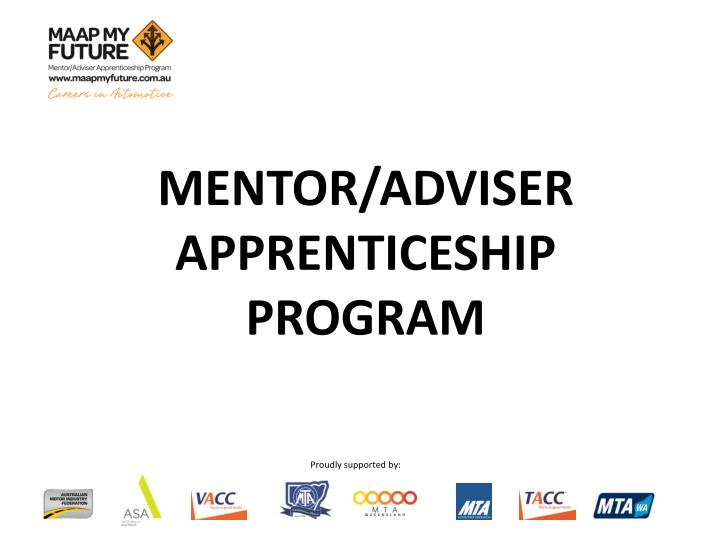 Mentor adviser apprenticeship program