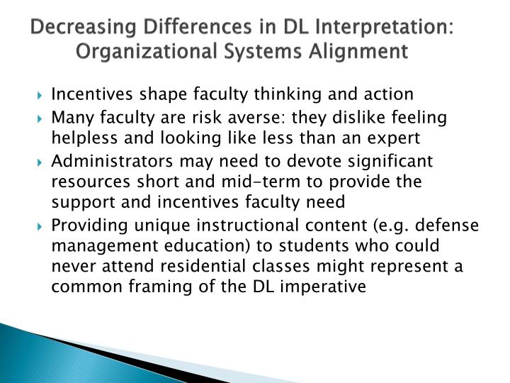Decreasing Differences in DL Interpretation: Organizational Systems Alignment