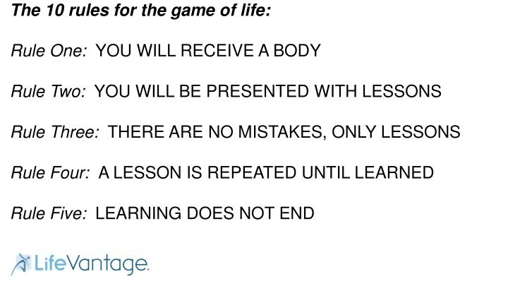 The 10 rules for the game of life: