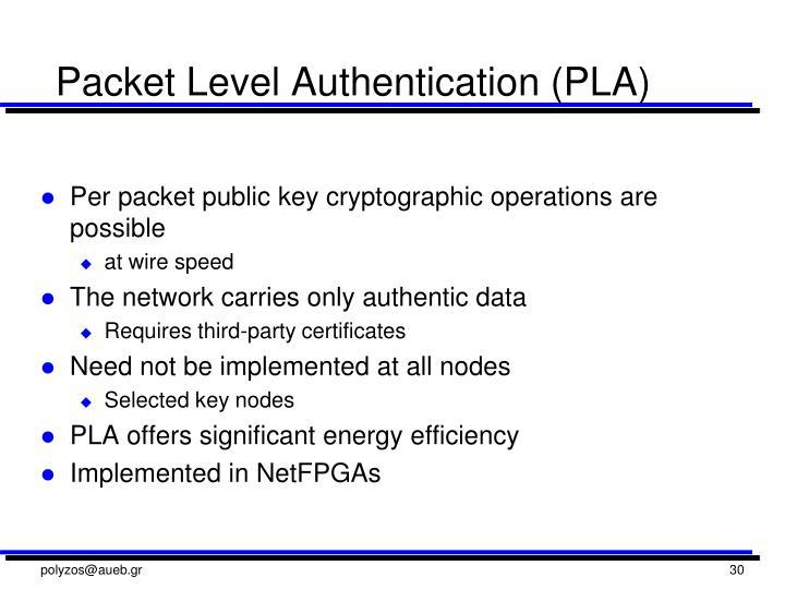 Packet Level Authentication (PLA)
