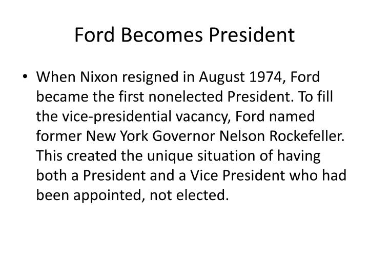 Ford Becomes President