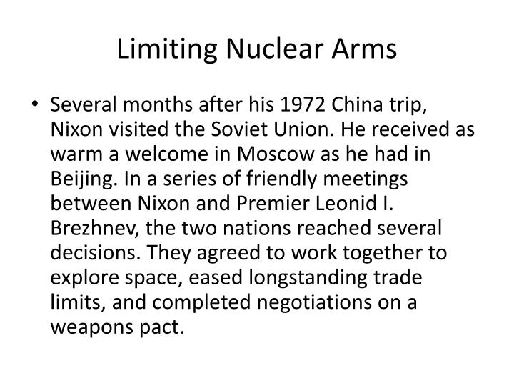 Limiting Nuclear Arms