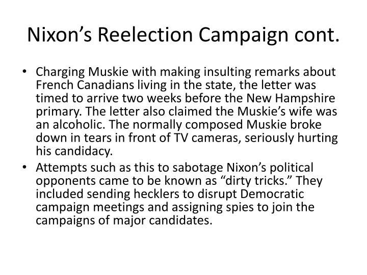 Nixon's Reelection Campaign cont.