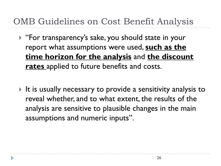 OMB Guidelines on Cost Benefit Analysis