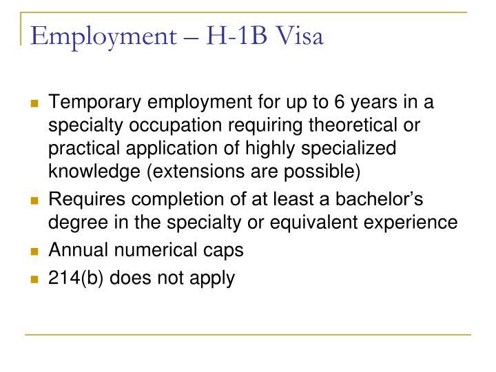 Employment – H-1B Visa