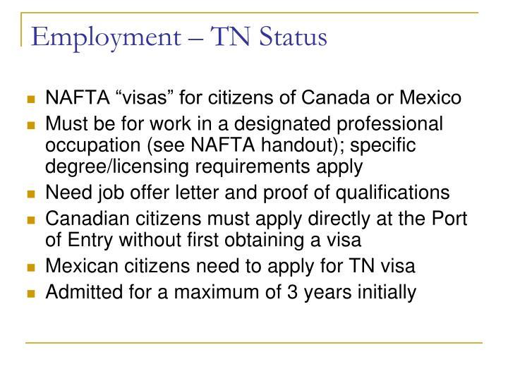 Employment – TN Status