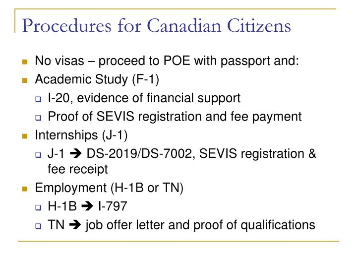 Procedures for Canadian Citizens