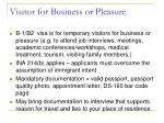 visitor for business or pleasure