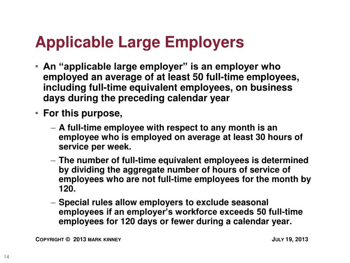Applicable Large Employers
