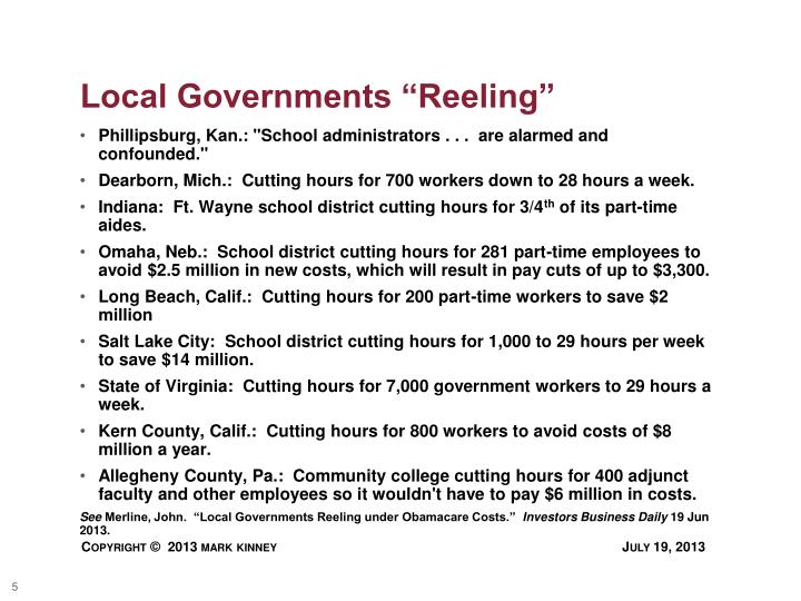 "Local Governments ""Reeling"""