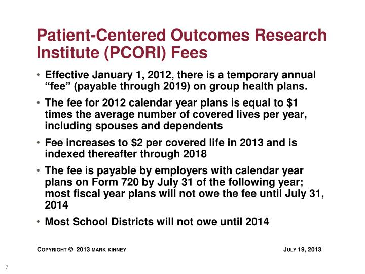 Patient-Centered Outcomes Research Institute (PCORI) Fees
