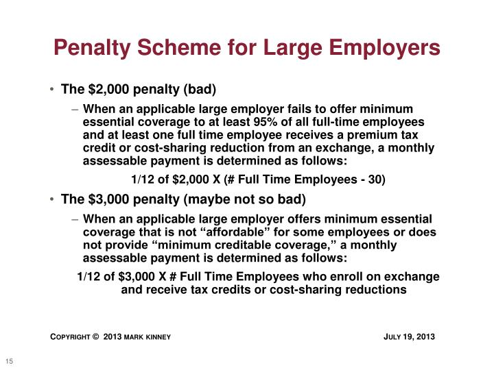 Penalty Scheme for Large Employers