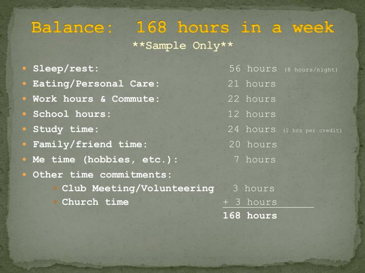 Balance:  168 hours in a week
