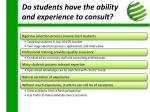 do students have the ability and experience to consult