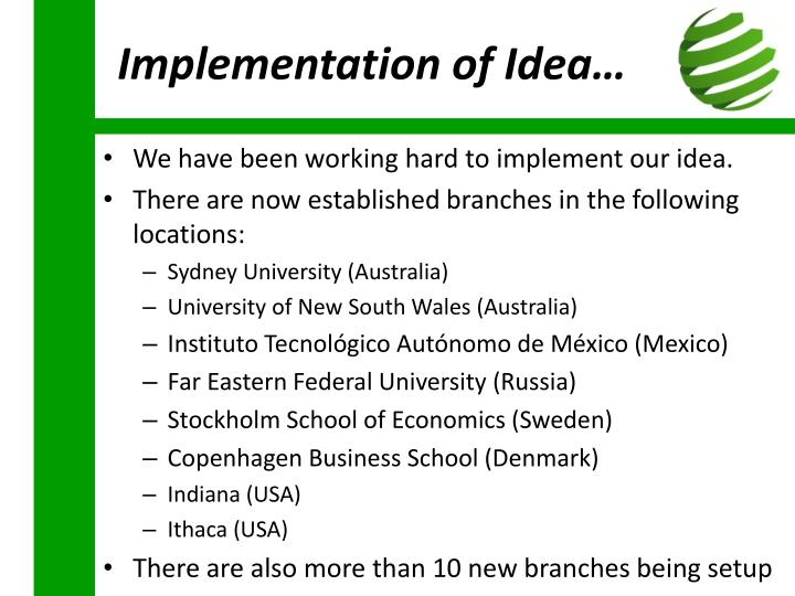 Implementation of Idea…