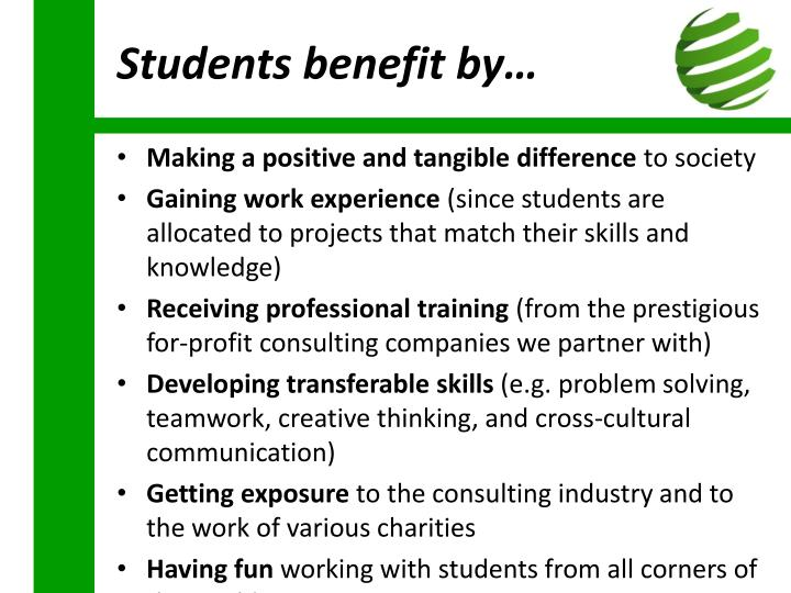 Students benefit by…