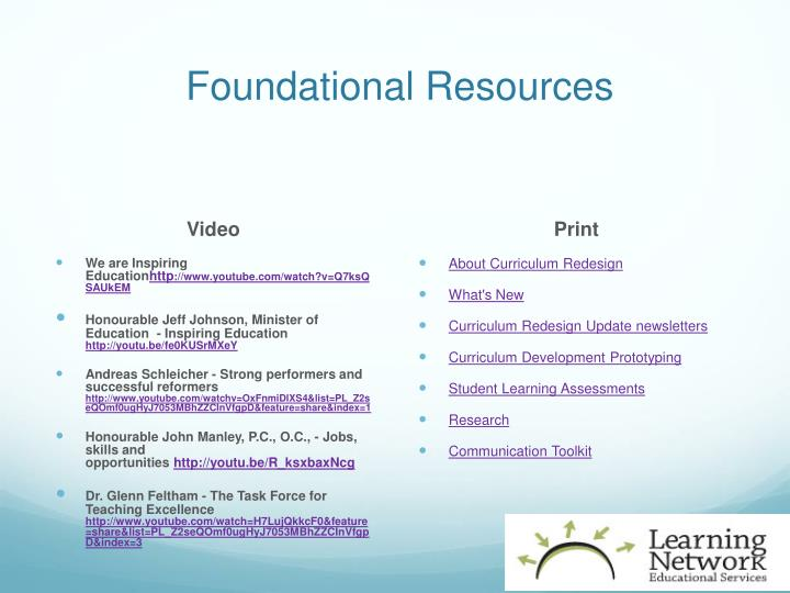 Foundational Resources
