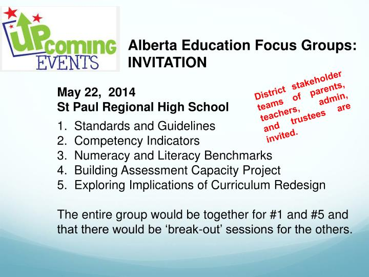 Alberta Education Focus Groups: