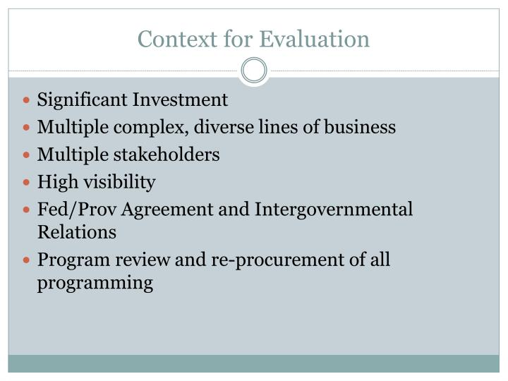 Context for Evaluation